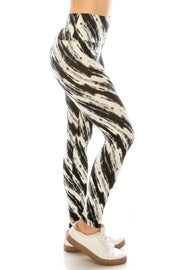 Long Yoga Style Banded Lined Multi Printed Knit Legging With High Waist. - Tigbul's Variety Fashion Shop