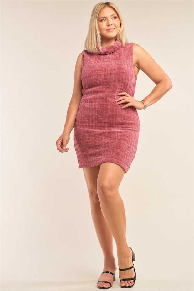 Plus Size Sleeveless Ribbed Knit Semi-turtleneck Mini Dress - Tigbul's Variety Fashion Shop