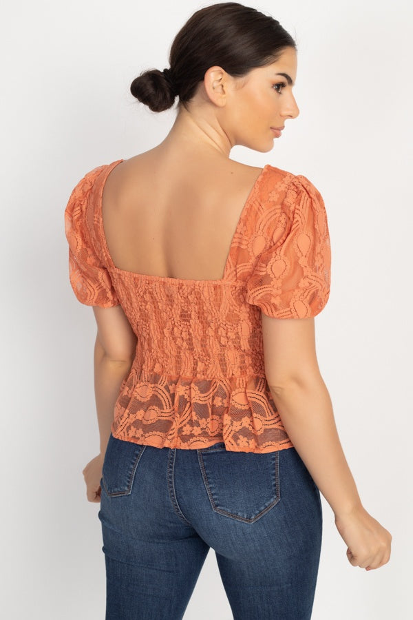 Sheer Lace Sweetheart Flounce Top - Tigbul's Variety Fashion Shop