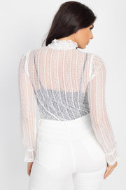 Ruffle Mock Neck Lace Top - Tigbul's Variety Fashion Shop