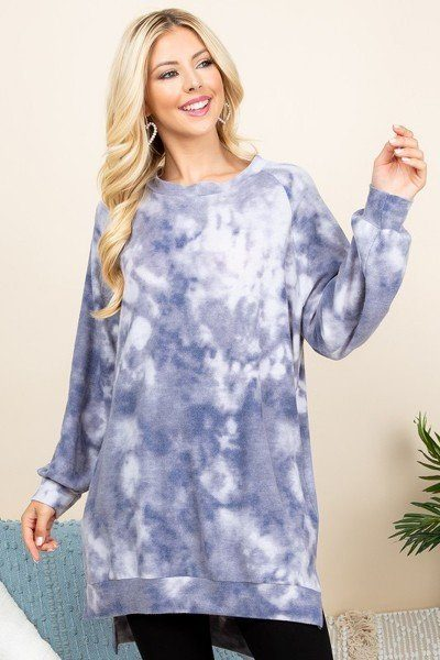 Women's Blue Grey Ultra Cozy Tie Dye Oversize Casual Pullover - Tigbul's Variety Fashion Shop
