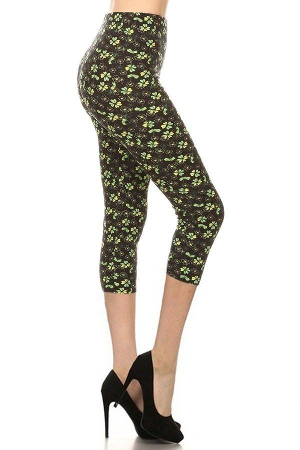 Clover Print, High Rise, Fitted Capri Leggings - Tigbuls