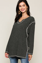 Women's Charcoal Two-tone Rib Tunic Top With Side Slits - Tigbul's Variety Fashion Shop