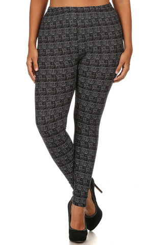 Knit, Pattern Print, Full Length Leggings With Elastic Waist - Tigbul's Variety Fashion Shop