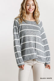 Striped Round Neck Long Sleeve Top - Tigbul's Variety Fashion Shop