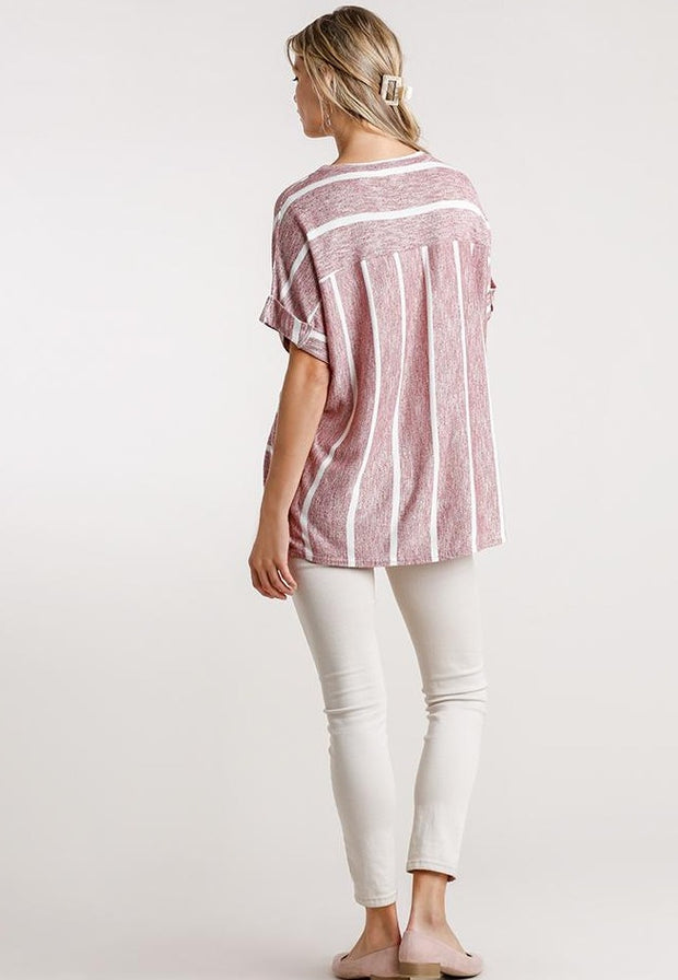 Horizontal And Vertical Striped Short Folded Sleeve Top With High Low Hem - Tigbul's Variety Fashion Shop