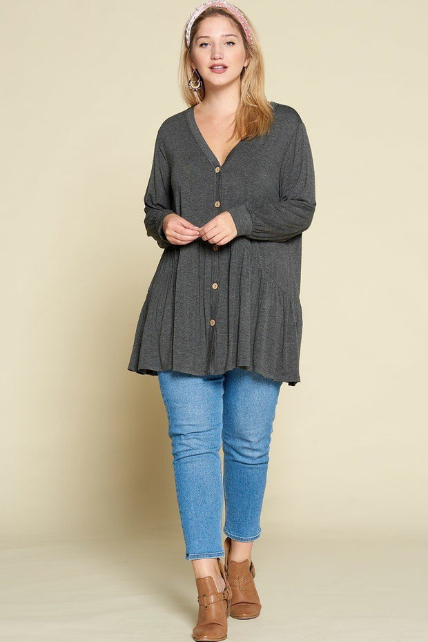 Plus Size Solid Heavy Rayon Modal Jersey Faux Button Up - Tigbul's Variety Fashion Shop