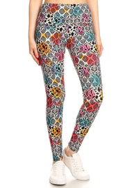 Yoga Style Banded Lined Damask Pattern Leggings With High Waist - Tigbuls