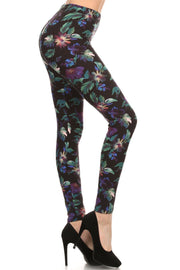 Floral Print, Full Length Leggings In A Slim Fitting Style With A Banded High Waist - Tigbuls