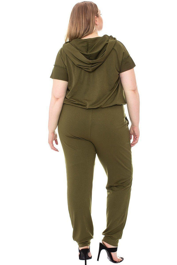 Camouflage Detailed Jogger Plus Size Set - Tigbul's Variety Fashion Shop