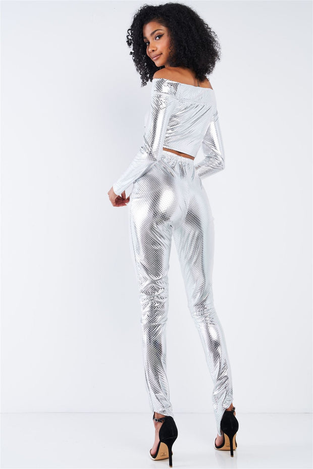 Metallic Off-the-shoulder Cropped Top And High Waist Slim Fit Legging Set - Tigbul's Variety Fashion Shop