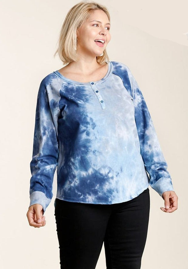 Tie-dye Button Front Long Raglan Sleeve Top With Raw Hem - Tigbul's Variety Fashion Shop