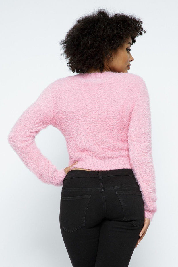 Eyelash Knit Cropped Cardigan With Pearl Button Details - Tigbul's Variety Fashion Shop