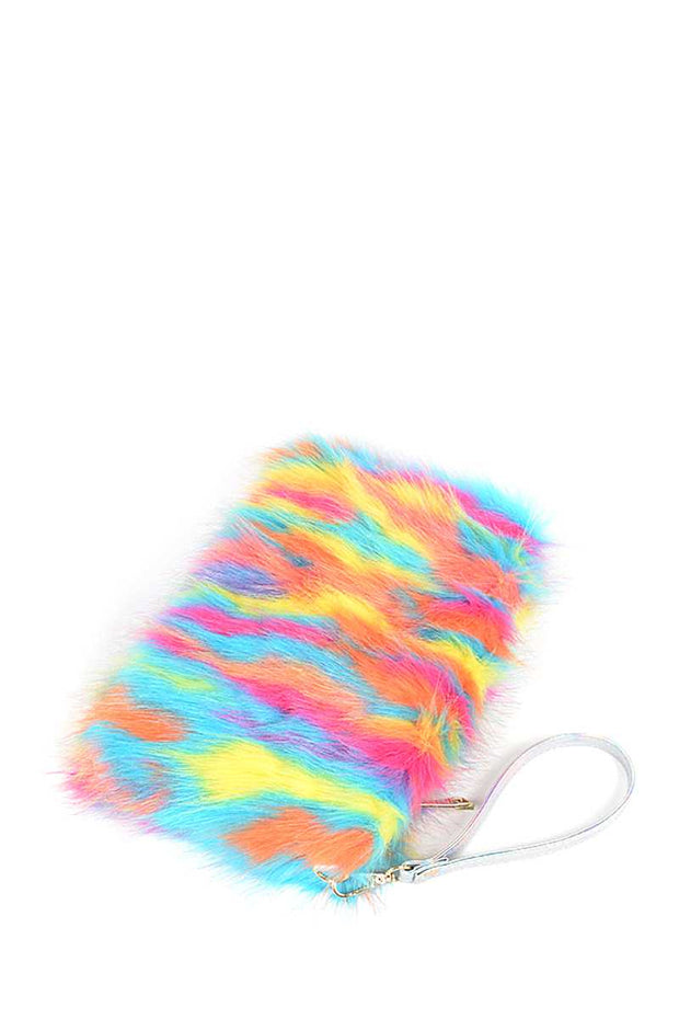 Bright Multi Faux Fur Pouch Bag - Tigbul's Variety Fashion Shop