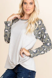 Casual French Terry Side Twist Top With Animal Print Long Sleeves - Tigbul's Variety Fashion Shop