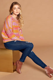 Multi-color Thread Striped Knit Sweater - Tigbul's Variety Fashion Shop