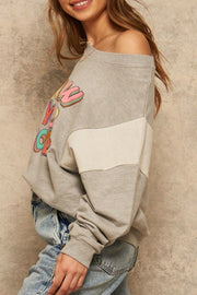 French Terry Knit Graphic Sweatshirt - Tigbul's Variety Fashion Shop