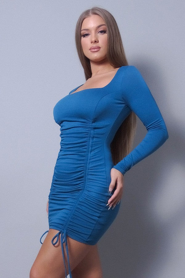 Sexy & Chic Long Sleeve Square Neck Ruching Tie Basic Dress - Tigbul's Variety Fashion Shop