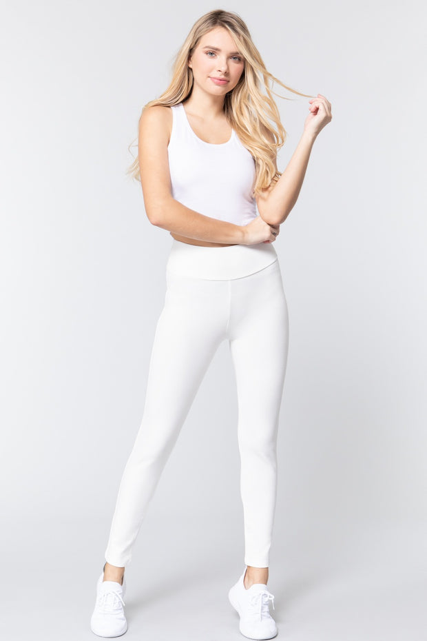 Waist Band Long Ponte Pants - Tigbul's Variety Fashion Shop