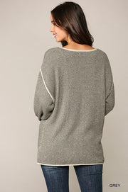 Two-tone Sold Round Neck Sweater Top With Piping Detail - Tigbul's Variety Fashion Shop