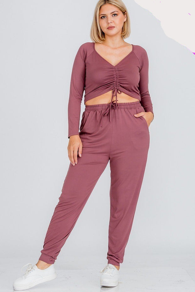 Plus Size Strap Ruched Adjustable Top And Jogger Pants Set - Tigbul's Variety Fashion Shop