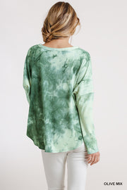 Ladies Tie Dye Ribbed Button Front Top - Tigbul's Variety Fashion Shop
