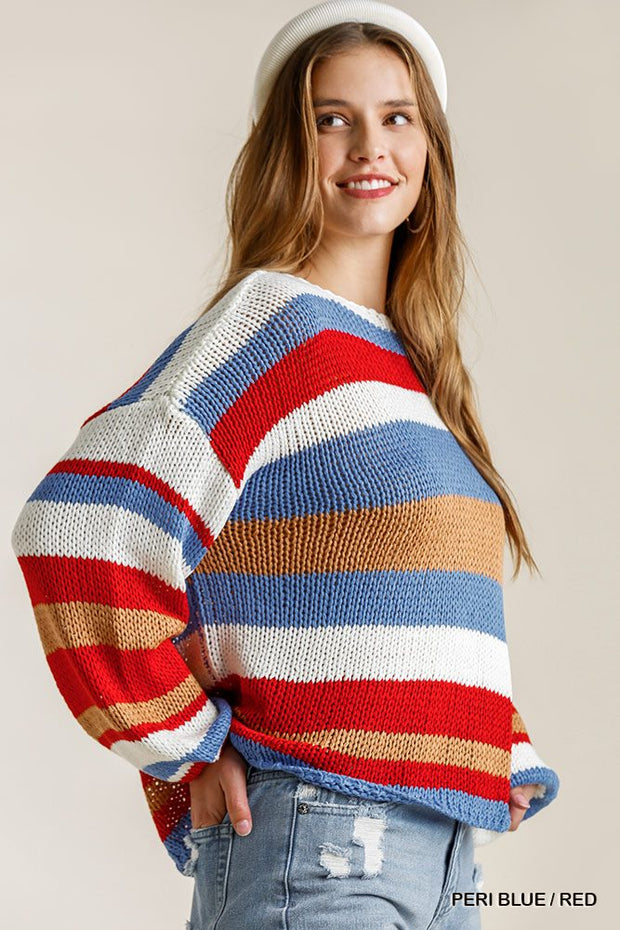 Multicolored Stripe Round Neck Long Sleeve Knit Sweater - Tigbul's Variety Fashion Shop