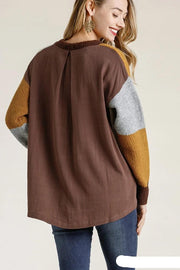 Mustard/Brown Colorblock Contrast High Low Long Sleeve Sweater - Tigbul's Variety Fashion Shop