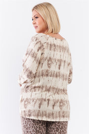 Plus Ivory Acid Wash Print Bateau Neck Relaxed Fit Long Sleeve Top - Tigbul's Variety Fashion Shop