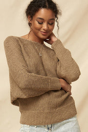 A Ribbed Knit Sweater - Tigbul's Variety Fashion Shop