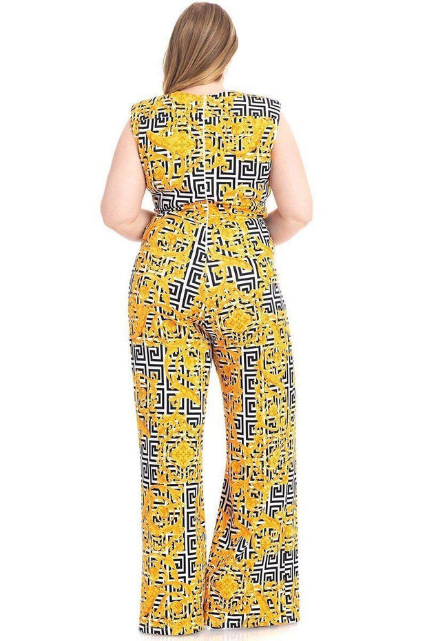 Greek Key Print Formal Jumpsuit