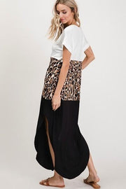 Color Block Leopard V Neck Maxi Dress - Tigbul's Variety Fashion Shop