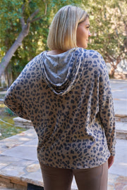 Plus Taupe & Black Cheetah Hooded Knit Construction Dropped Shoulders Long Sleeve Front Pocket Relaxed Fit Sweatshirt