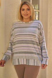 Plus Sage & Lavender Stripped Super Soft Sweatshirt