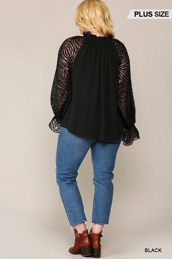 Zebra Burnout Sleeve Ruffled Neck Bubble Crepe Blouse