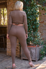 Plus Mocha Plunge Neck Long Sleeve Self-tie Back Or Front Waist Top & High-waisted Skinny Pants Set - Tigbul's Variety Fashion