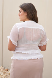 Plus Short Sleeve U-neck With Self-tie Detail Frill Smocked Sheer Top - Tigbul's Variety Fashion