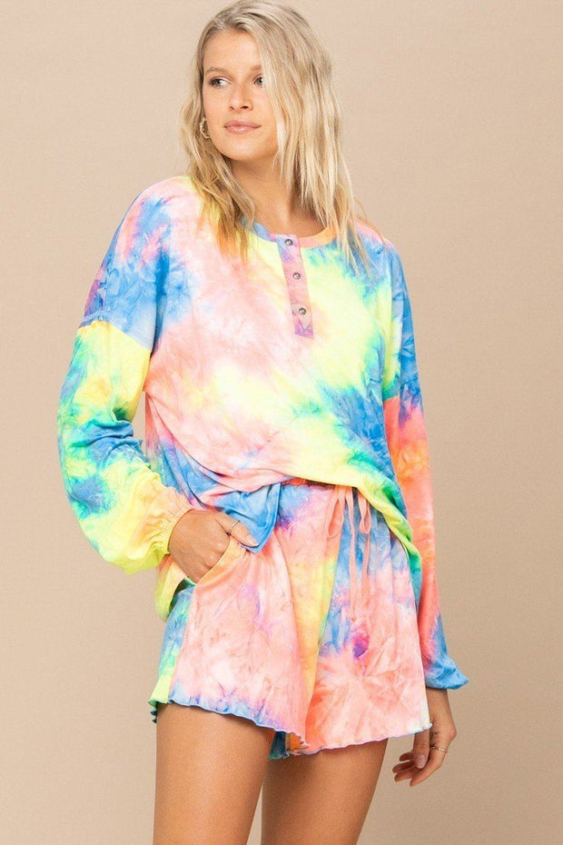 Tie-dye Printed Knit Top And Shorts Set - Tigbul's Variety Fashion
