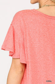 Solid Round Neck Frill Sleeve Top With Scoop Hem - Tigbul's Variety Fashion