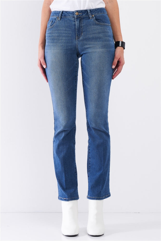 Medium Blue Denim High Waisted Skinny Boot Recycled Jeans