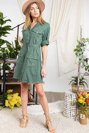 Drop Shoulder With Saist Tie Belted Dress - Tigbul's Variety Fashion
