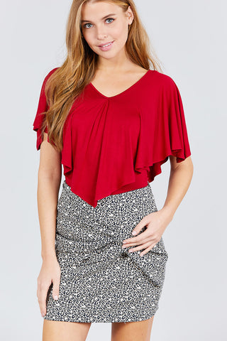 Women's Chili Red V-Neck Cape Rayon Spandex Knit Top - Tigbul's Variety Fashion
