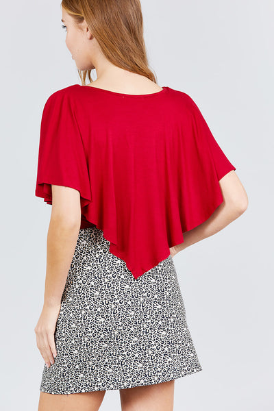 Women's Chili Red V-Neck Flounce Cape Rayon Spandex Knit Top - Tigbul's Variety Fashion Shop