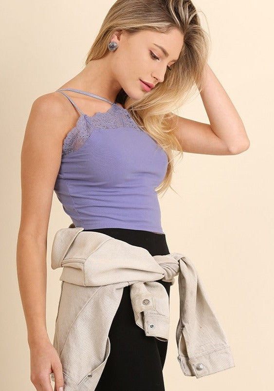Sleeveless Caged Look With Lace Detailed Crop Top - Tigbul's Variety Fashion Shop