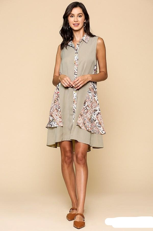 Scarf Print Button Down Double Swing Collared Dress with High Low Hem - Tigbul's Variety