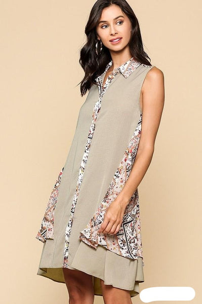 Scarf Print Button Down Double Swing Collared Dress with High Low Hem