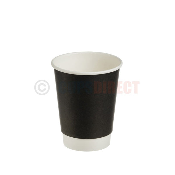 9oz 12oz Double Walled Paper Coffee Cups , Brown Heat