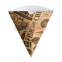 Vegware Compostable Chip Cone - Newspaper Style