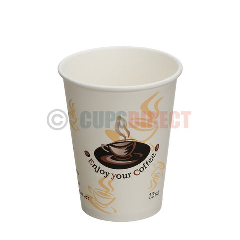 Enjoy 12oz, Single Wall -Disposable Hot Paper Cups