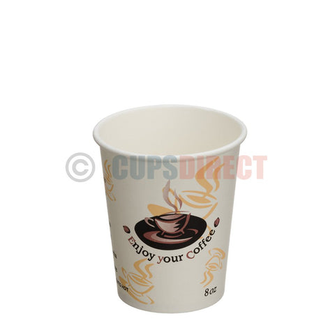 Enjoy 8oz, Single Wall -Disposable Hot Paper Cups